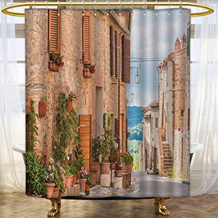 Anhounine Mediterranean Shower Curtains Sets Bathroom Medieval Old Town In Tuscany Historic Culture Village