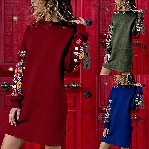 Dasongff Damen Kleider Herbst Winter Langarm Beil/äufige Lose Kleid Rose Gestickt Strickkleider Kleidung Abendkleid Partykleid Frauenkleid Kleid Frauen Boho Kleid Lang Pullover