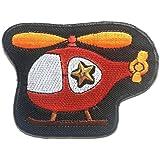 Ecusson - hélicoptère enfants - rouge - 8x6.2cm - patches brode appliques embroidery thermocollant