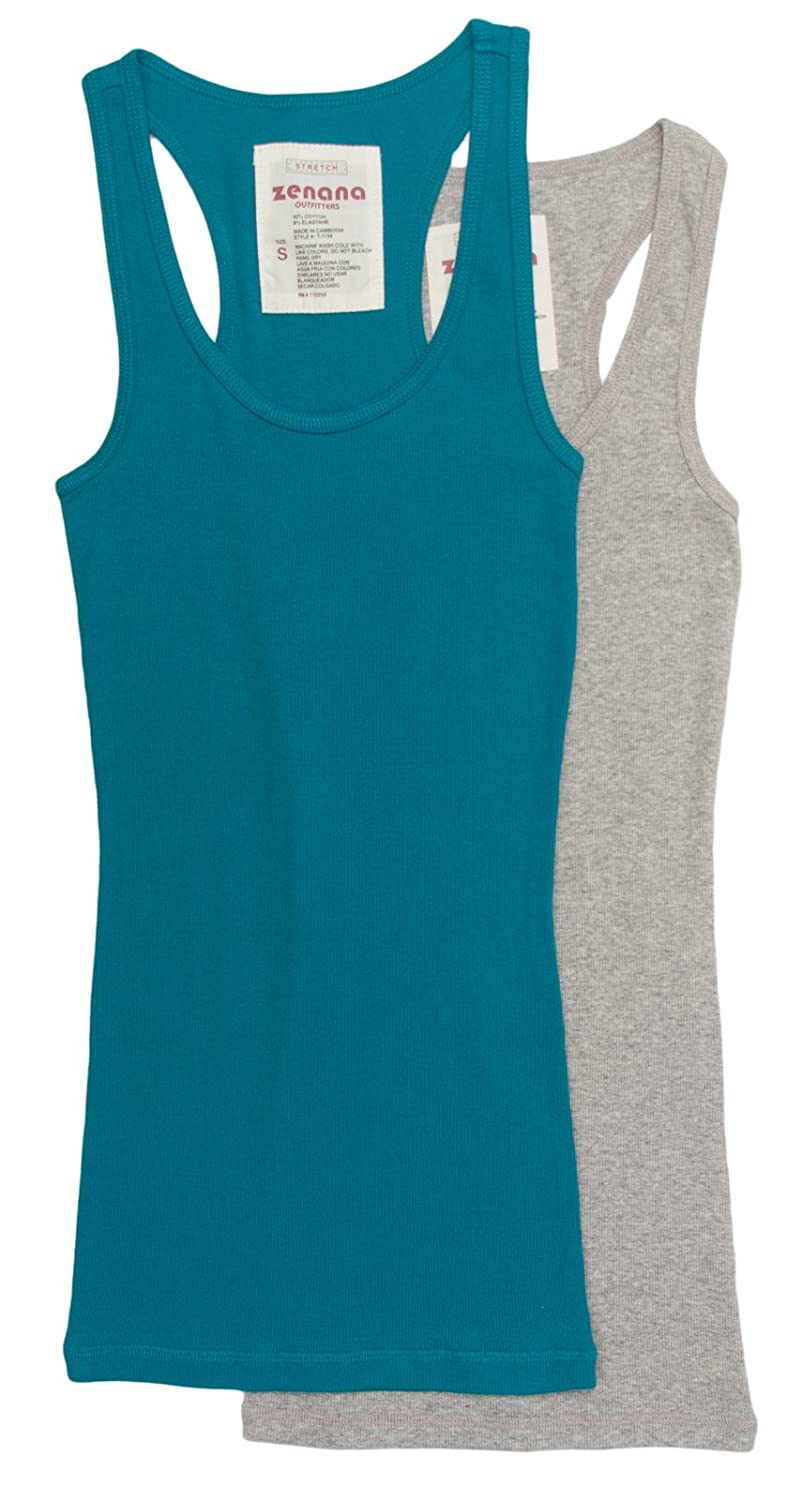 2 Pack Zenana Women's Ribbed Tank Tops