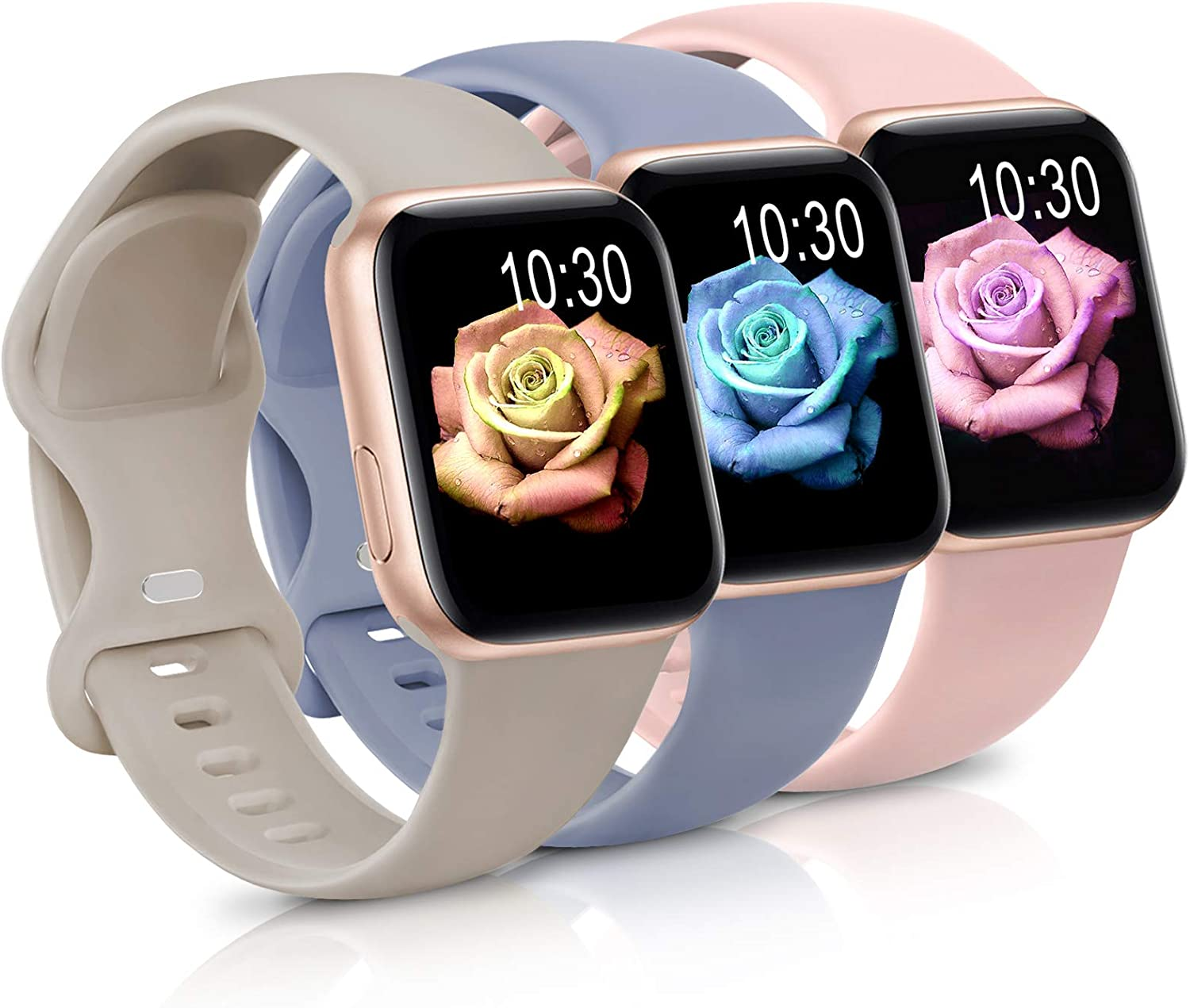 Sport Band Compatible with Apple Watch iWatch Bands 38mm 40mm 42mm 44mm,Soft Silicone Strap Wristbands for Apple Watch Series 3 6 5 4 2 1 SE Women Men Pack 3,Baby Pink/Stone/Cool Gray,38/40mm,M/L