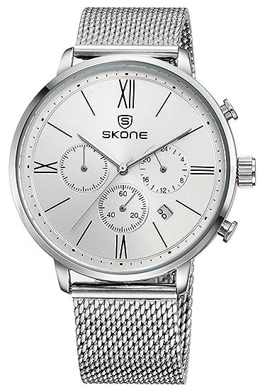 Skone Hombre Blanco Deportivos Baratos Marcas Analogico Quartz Acero Relojes: Amazon.es: Relojes