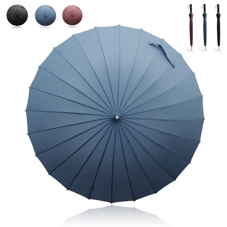 Becko 44 inch Regenschirm automatisch Auf-Zu Stockschirm 24 teiliger Schirm Golfschirm Wasserfest, winddicht Partnerschirm für ein bis zwei Personen (Blau)