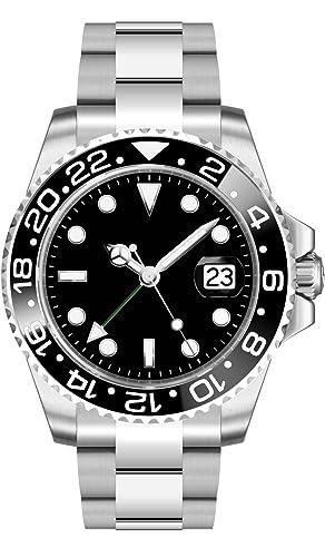 PARNIS 2034 GMT de Hombre automático Reloj Caja de Acero Inoxidable Correa de Acero Inoxidable Cierre Desplegable Cristal de Zafiro drehlünette Base de ...
