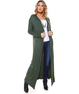 1780fb0d220a2 Annabelle Women s Lightweight Solid Knit Side Slit Open Front Long ...