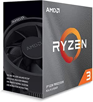 AMD Ryzen 3 3100, 4-Core/8 Threads Unlocked, Max Freq 3.9GHz, 18MB Cache Socket AM4 65W with Wraith Stealth Cooler, 100-100000284BOX