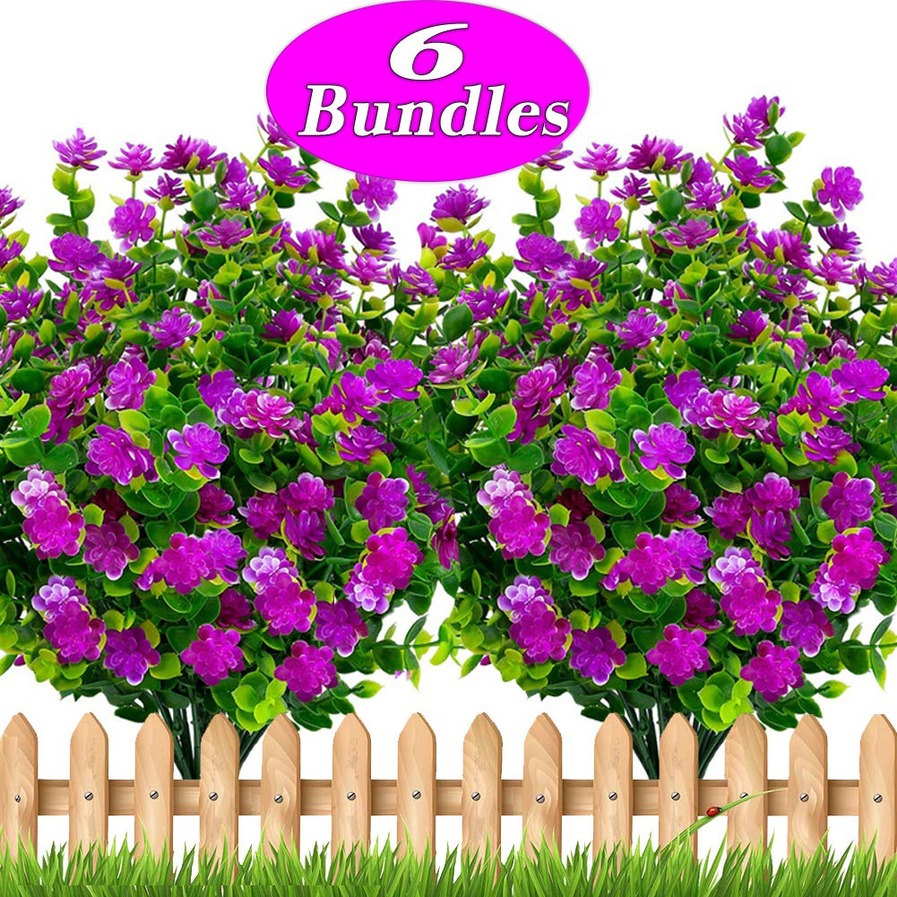 Axylex Artificial Flowers Outdoor Greenery - Fake Hanging Plants UV Resistant No Fade Faux Plastic Daffodils Bundles Shrubs Home Garden Porch Patio Decoration Office Indoor (Magenta) by Axylex