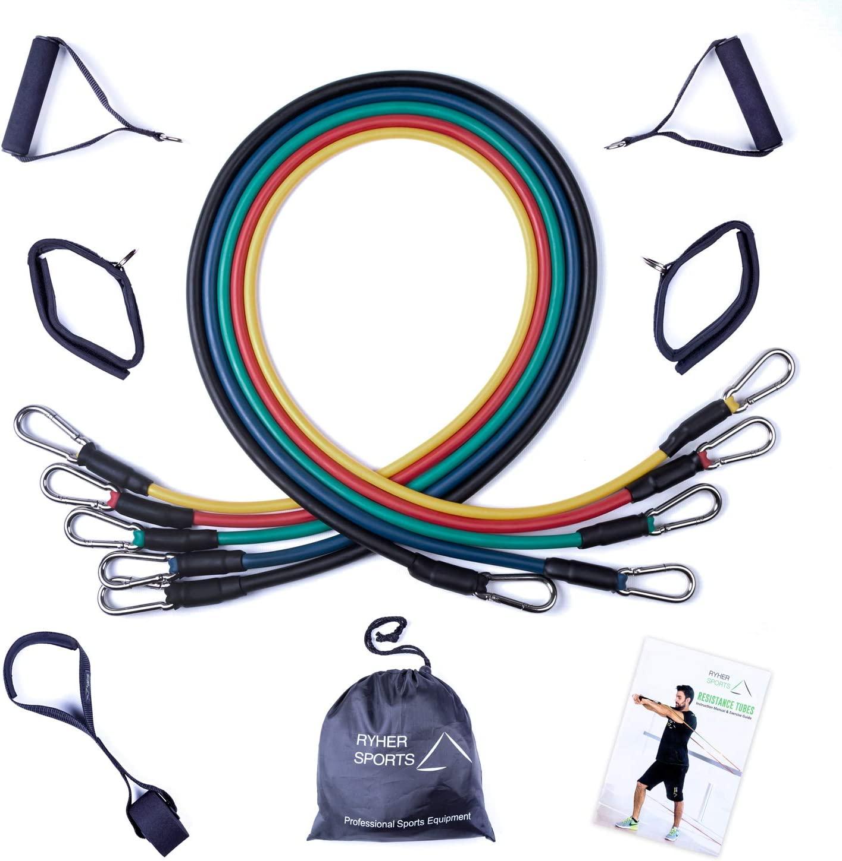 Ryher Gomas elásticas Fitness y Ejercicio - Kit de 12 con Asas, Correas para los Tobillos, Anclaje para Puertas – Deporte en Casa, Crossfit, Pesas y Musculación - versión 2019