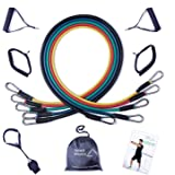 Ryher Elastic Resistance Bands with Handles, Door Anchor, Ankle Straps - For Weights Exercise, Fitness Workout - 11 pcs Set - 100% European Quality Company – Instructional Booklet, eBook PDF & Handy Carry Bag