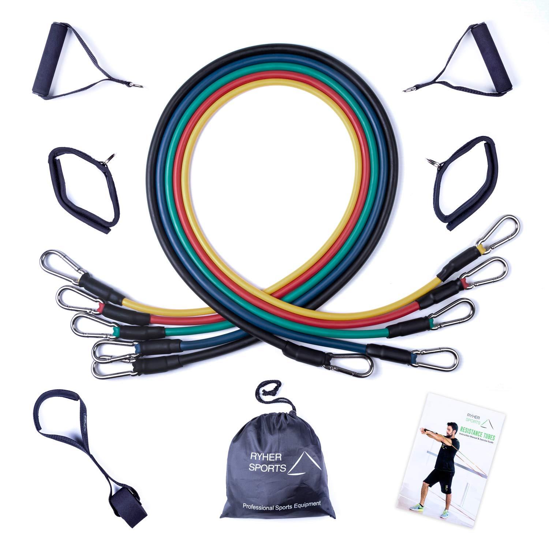 Ryher Gomas elásticas Fitness y Ejercicio - Kit de 5 Bandas de Resistencia con Asas,