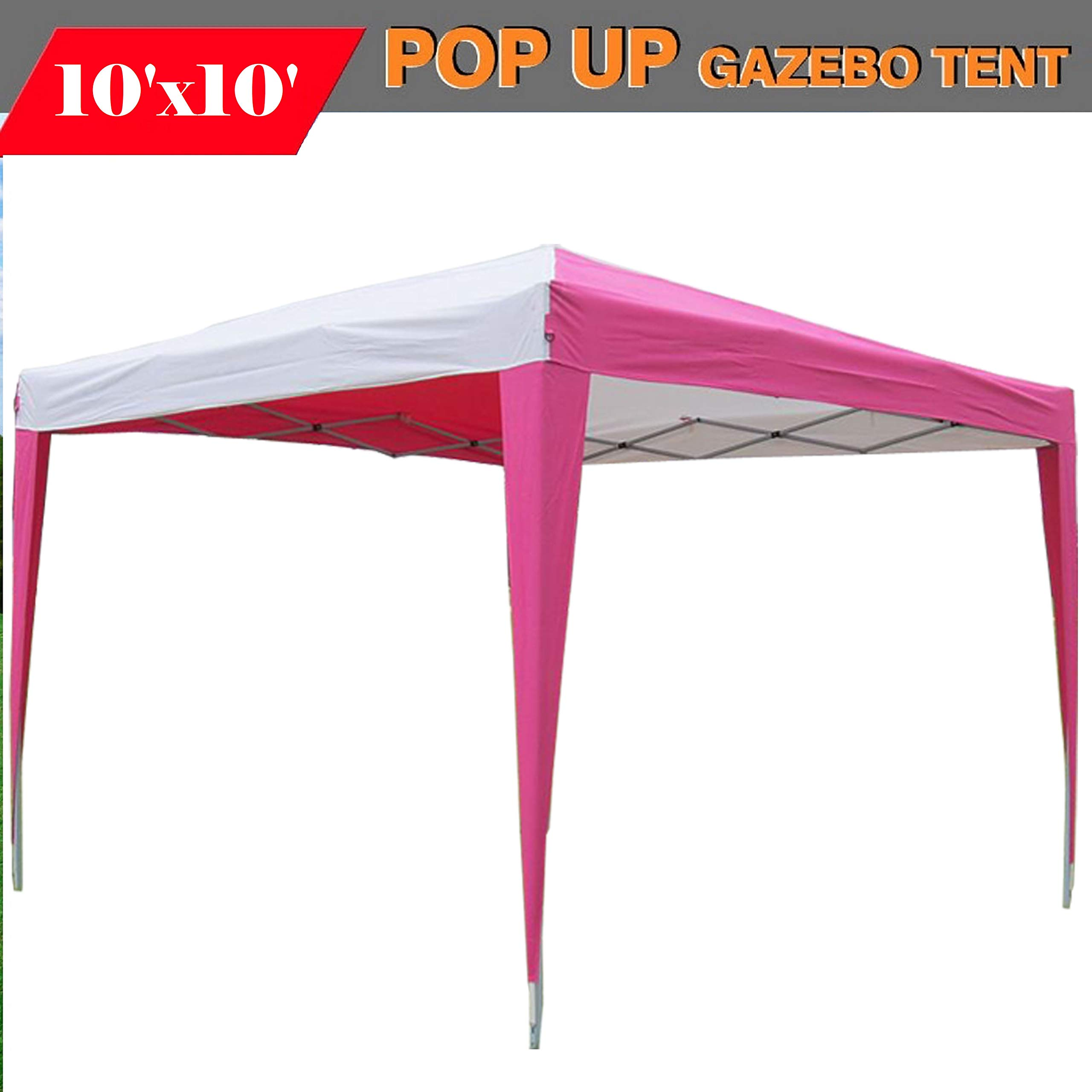 DELTA Canopies 10'x10' Pop Up Canopy Party Tent Instant Gazebo EZ CS N - Pink/White