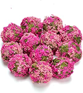 "Byher Decrative Ball with Flowers for Bookshelf, Table, Tree, Party, House Decoration (Pink - 3.5"" - Set of of 6)"