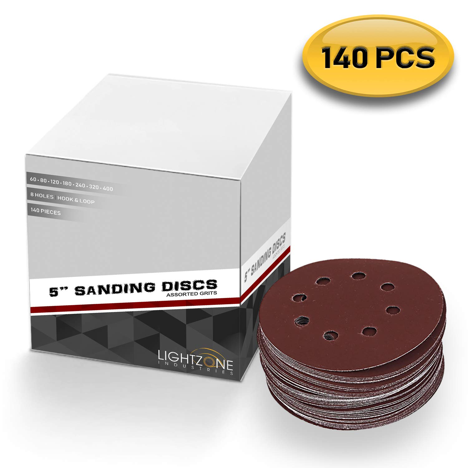 5 inch 8 Hole Sanding Discs Hook and Loop Assorted 140PCS Premium Abrasive Grits 60/80/120/180/240/320/400 for Random Orbital Sander Pad - by LIGHTZONE INDUSTRIES by LIGHTZONE INDUSTRIES