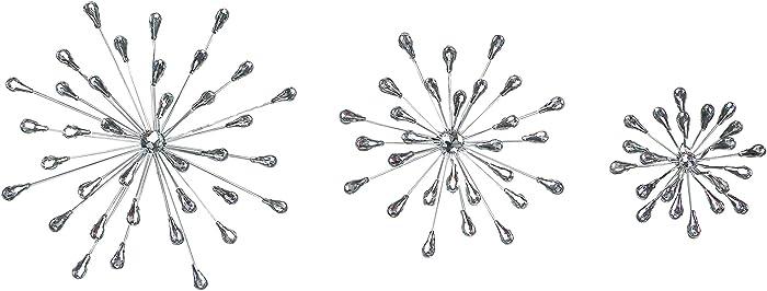 Set of 3 Silver Teardrop Starburst Rhinestone Jeweled Metal Wall Hanging Art Decorative Crystal Home Decor