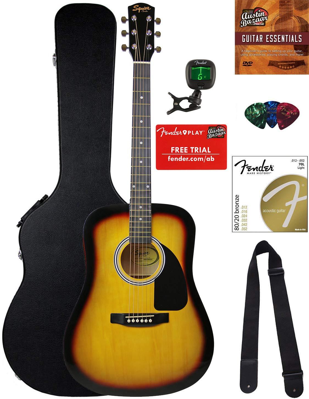 Fender Squier Dreadnought Acoustic Guitar - Sunburst Bundle with Hard Case, Tuner, Strap, Strings, Picks, and Austin Bazaar Instructional DVD