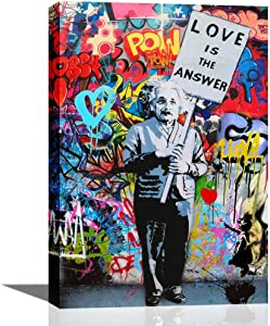 ARTSPIRIT Wall Art for Living Room Inspirational Wall Art Einstein Poster Love is The Answer Office Wall Decor Canvas Print Painting Colorful Figure Street Graffiti Artwork