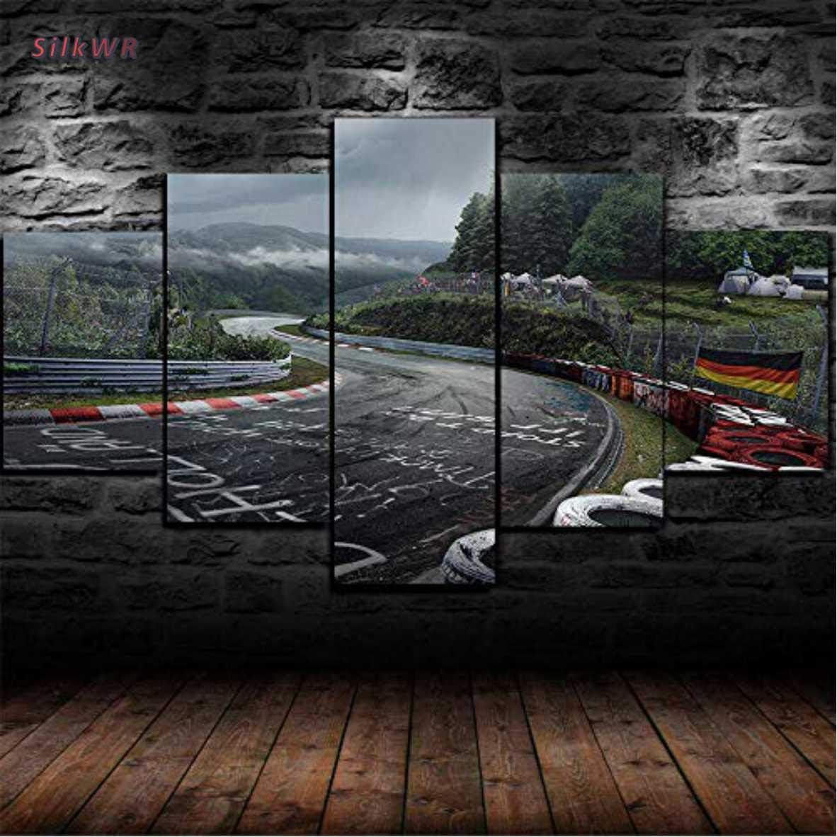 SilkWR-Impresiones sobre Lienzo,Modular Mural Pegatinas P/óster,5 Piezas Cuadro,Habitacion Decoracion,Regalo,con Marco,Talla:S,Circuito De Rally De Nurburgring