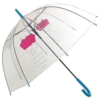 DRW - Paraguas Mensaje Positivo Transparente Algunas Personas sienten la Lluvia 85x84cm