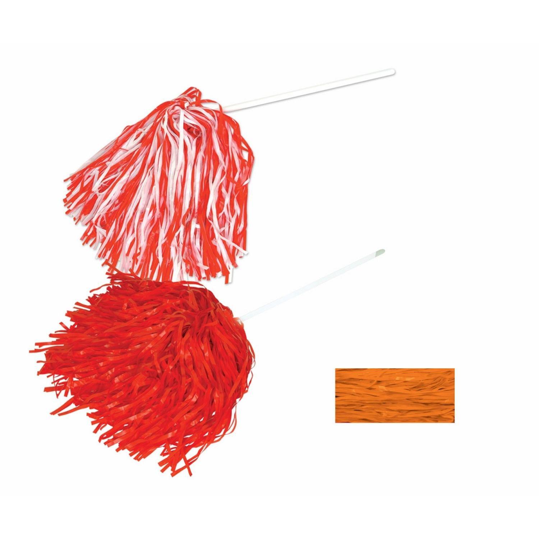 Club Pack of 144 Orange Football Themed School Spirt Poly Shakers 12''
