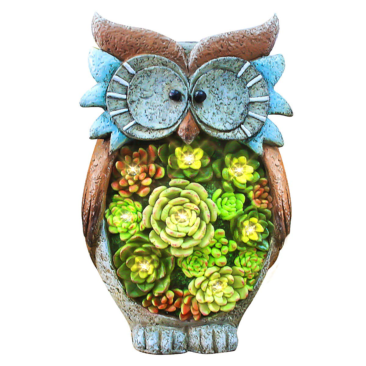 Owl Figurine Lawn Ornaments - Solar Powered LED Outdoor Lights Resin Garden Statue for Yard Decorations, 10.5'' x 6'', Gift for Mom