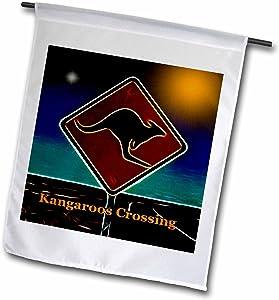 3dRose fl_15719_1 Kangaroo Crossing Garden Flag, 12 by 18-Inch