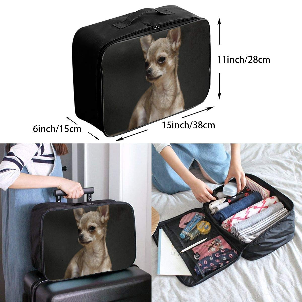 Lightweight Large Capacity Portable Luggage Bag Chihuahua Dogs Cute Pet Travel Waterproof Foldable Storage Carry Tote Bag