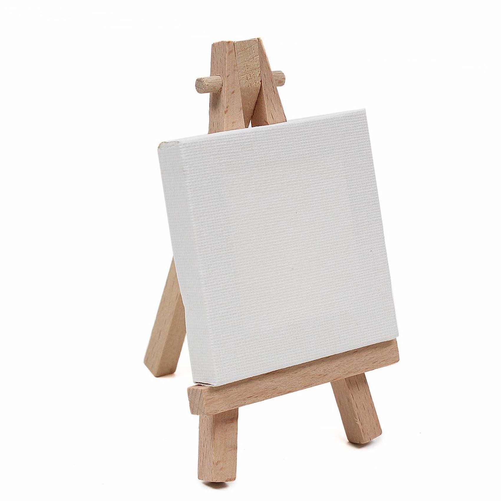 24 sets Mini Display Easel with Canvas 7x5 cm Wedding Table Numbers Painting Hobby Wooden Easel for Drawing DIY Party Gift Decoration