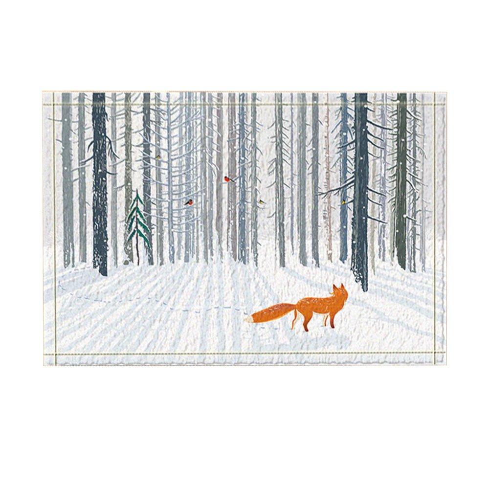 NYMB Animal Bath Rugs, Winter A Fox In Forest Bird On The Tree, Non-Slip Doormat Floor Entryways Indoor Front Door Mat, Kids Bath Mat, 15.7x23.6in, Bathroom Accessories