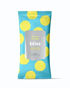 Bliss - Lemon & Sage Refreshing Body Wipes | Plant-Based, Aluminum Free, Natural Deodorant Wipes | All Skin Types | Gym & Travel Wipes for Easy Cleansing | Vegan | Cruelty Free | Paraben Free | 30 ct.