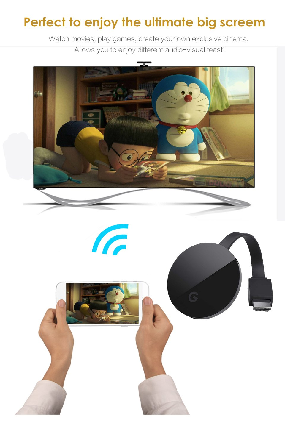 Moveski G5 1080P Wireless Miracast Wifi Display Adapter Display Receiver Screen Mirroring Dongle compatible Airplay Miracast DLNA for iOS and Android Mac Windows8.1/10