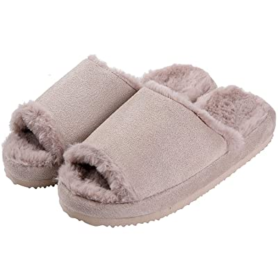 Fuzzy House Slippers for Women Faux Fur Peep Toe Indoor Slippers | Slippers