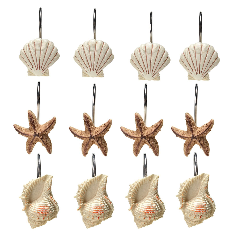 AGPtekR 12 PCS Fashion Decorative Home Bathroom Seashell Shower Curtain Hooks Light Brown