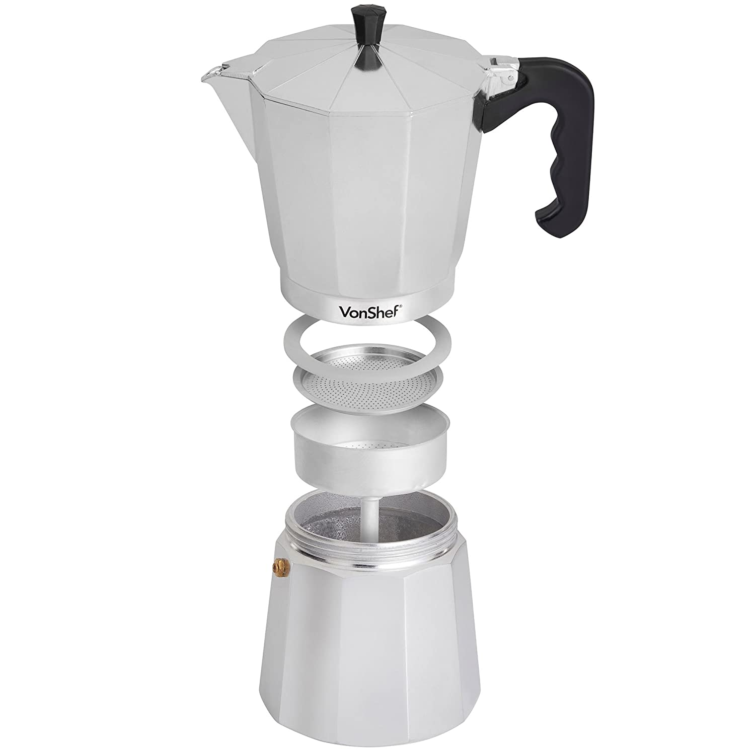 Amazoncom Vonshef 12 Cup Chrome Aluminium Espresso Maker Kitchen &