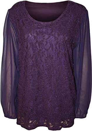 1c27b4f3525 Fashion 4 Less New Womens Plus Size Lace Lined Sheer Long Sleeve Ladies  Chiffon Tunic Party Top.UK 14-28 (UK-20