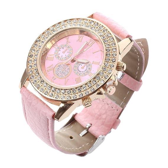 Mujeres Reloj - Geneva Reloj para mujeres, correa de cuero color rosa: Amazon.es: Relojes