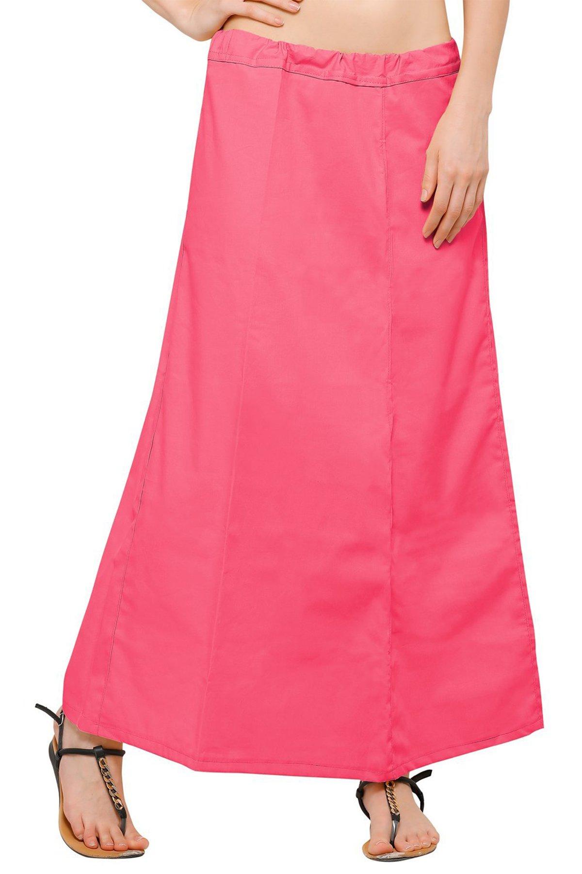 Chandrakala Women's Readymade Cotton Floor Length Free Size Petticoat Underskirt Slips for Indian Sarees(P104PEA4)