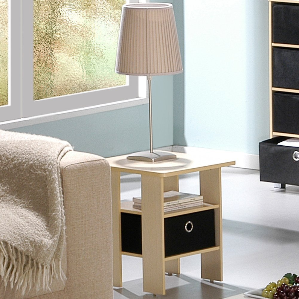 Furinno 11157SBE/BK End Table Bedroom Night Stand w/Bin Drawer, Steam Beech/Black by Furinno