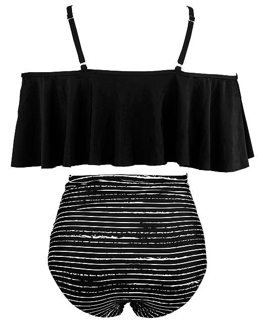fc6684eb8078d Amazon.com: COCOSHIP Women's Ruffled Bikini Set Off Shoulder Flounce  Falbala Top Tiered Ruched High Waist Swimsuit(FBA): Clothing