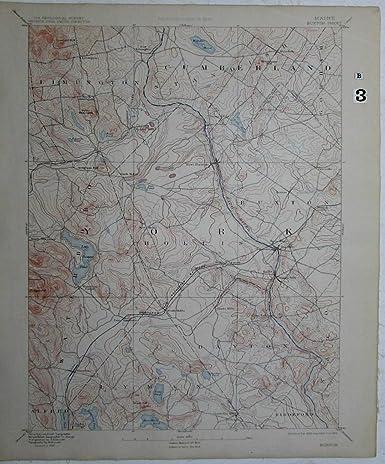 Lyman Maine Map.Amazon Com Buxton Maine Saco River Cumberland York Co Lyman
