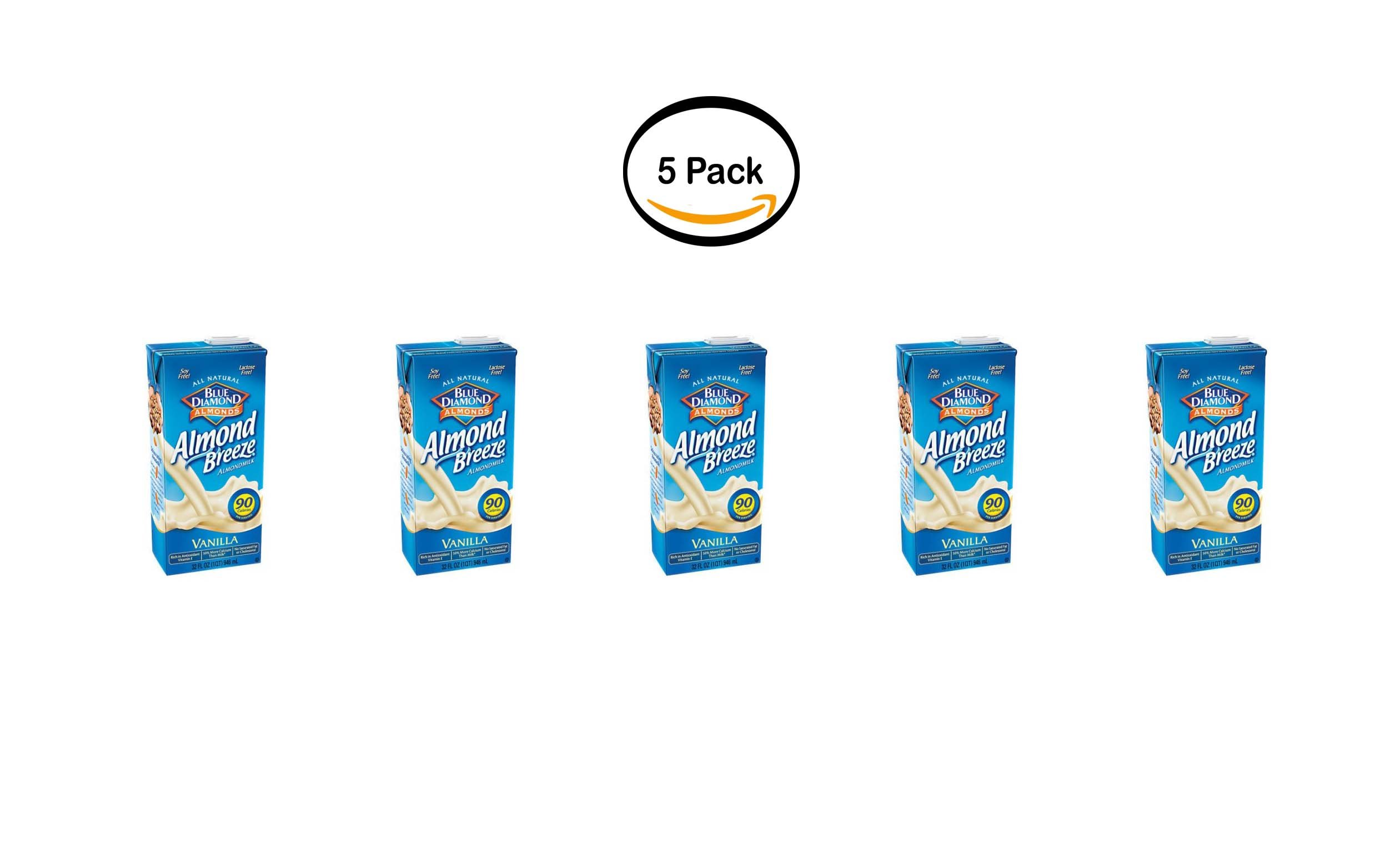 PACK OF 5 - Almond Breeze Vanilla Almond Milk, 32 fl oz (Pack of 4)