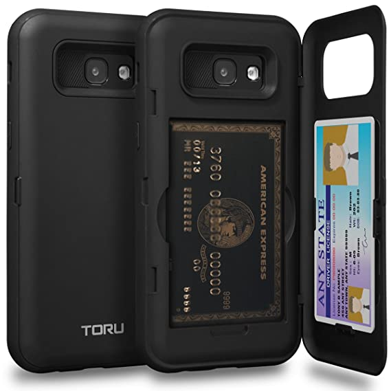 on sale de4f1 48835 TORU CX PRO Galaxy A5 2017 Wallet Case with Hidden ID Slot Credit Card  Holder Hard Cover & Mirror for Samsung Galaxy A5 (2017) - Matte Black