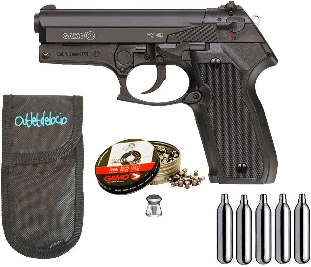 Outletdelocio. Pistola Perdigón Gamo PT-80 4,5mm. + Funda portabombonas + balines + bombonas co2.