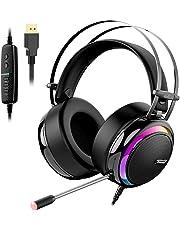 Tronsmart Auriculares Gaming para PS4 con Micrófono Diadema LED-glary-Cascos Gaming Sonido Envolvente 7.1-Aislante de Ruidos-Audio de Alta Definición Potentes Bajos-Headset para Nintendo Switch Gamer