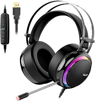 Tronsmart Auriculares gaming profesional con Micrófono Diadema LED Glary Cascos Gaming Sonido Envolvente 7.1 Drivers de neodimio 50mm micrófono