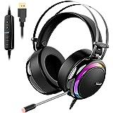 Tronsmart Auriculares gaming profesional con Micrófono Diadema LED-Glary-Cascos Gaming Sonido Envolvente 7.1-Drivers de neodimio 50mm-micrófono flexible con cancelación de ruido,PC&PS4 gamer
