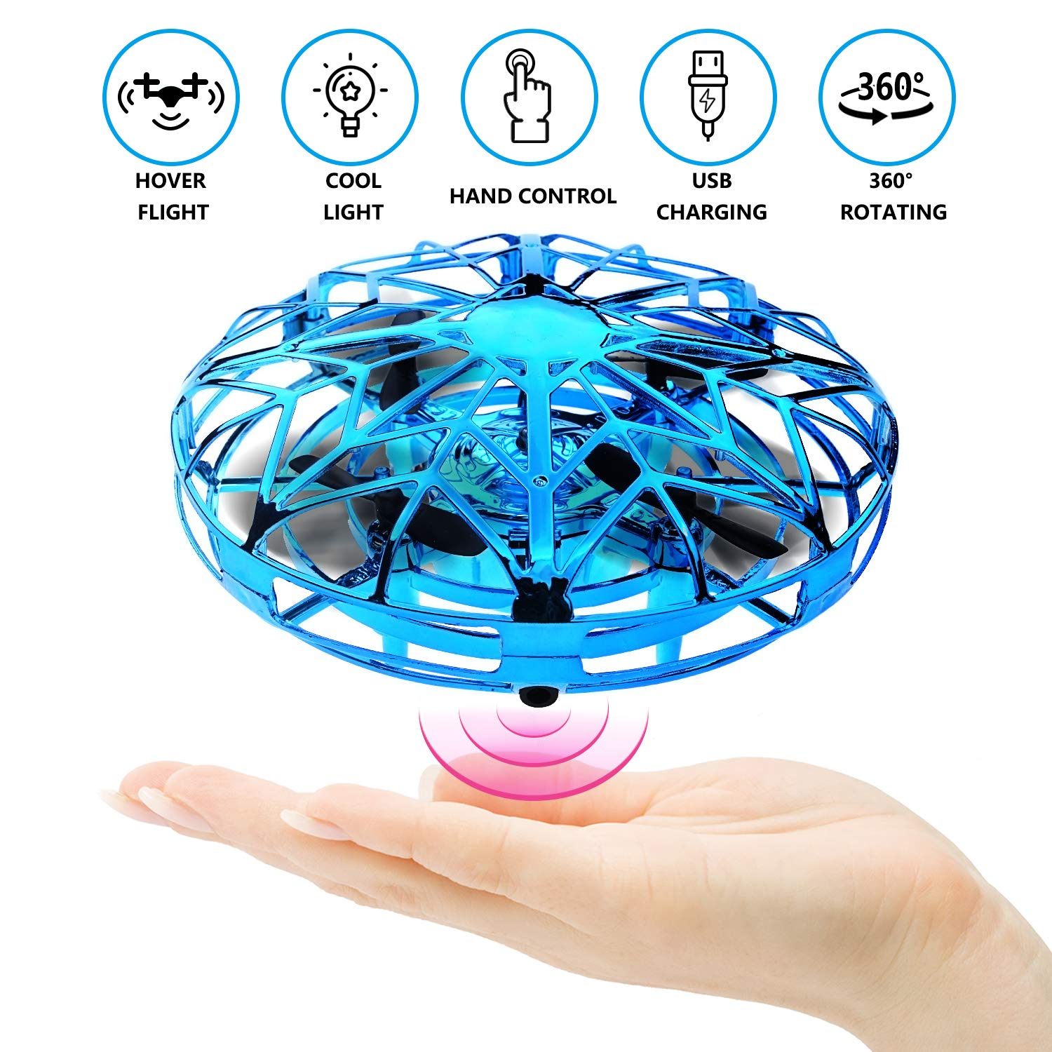 RACPNEL Hand Operated Drones for Kids or Adults, Hand-Controlled Flying Ball, Infrared Induction Interactive Mini Drone Helicopter with LED Lights and, Flying Toys for Boys or Girls (Blue) by RACPNEL