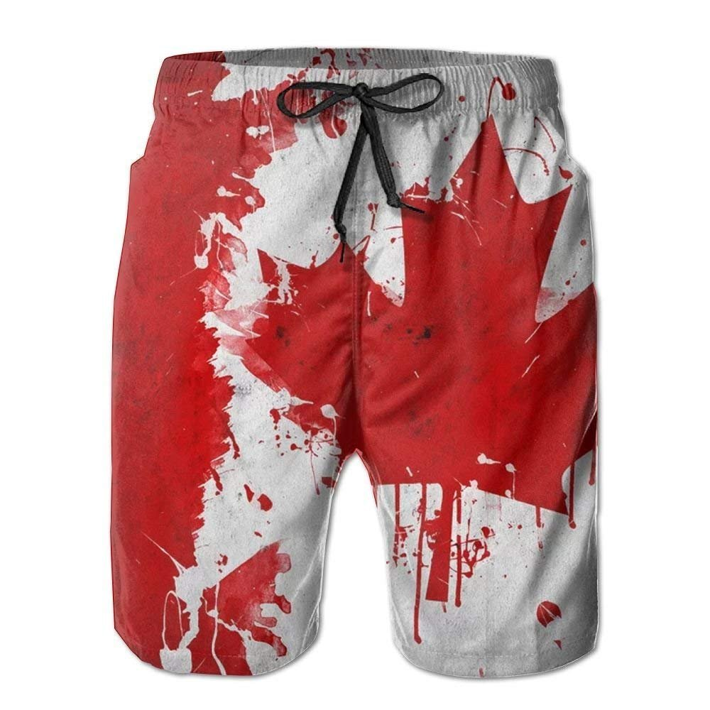 Man Summer Canada Canadian Flag Art Quick Dry No Mesh Lining Beach Shorts XX-Large