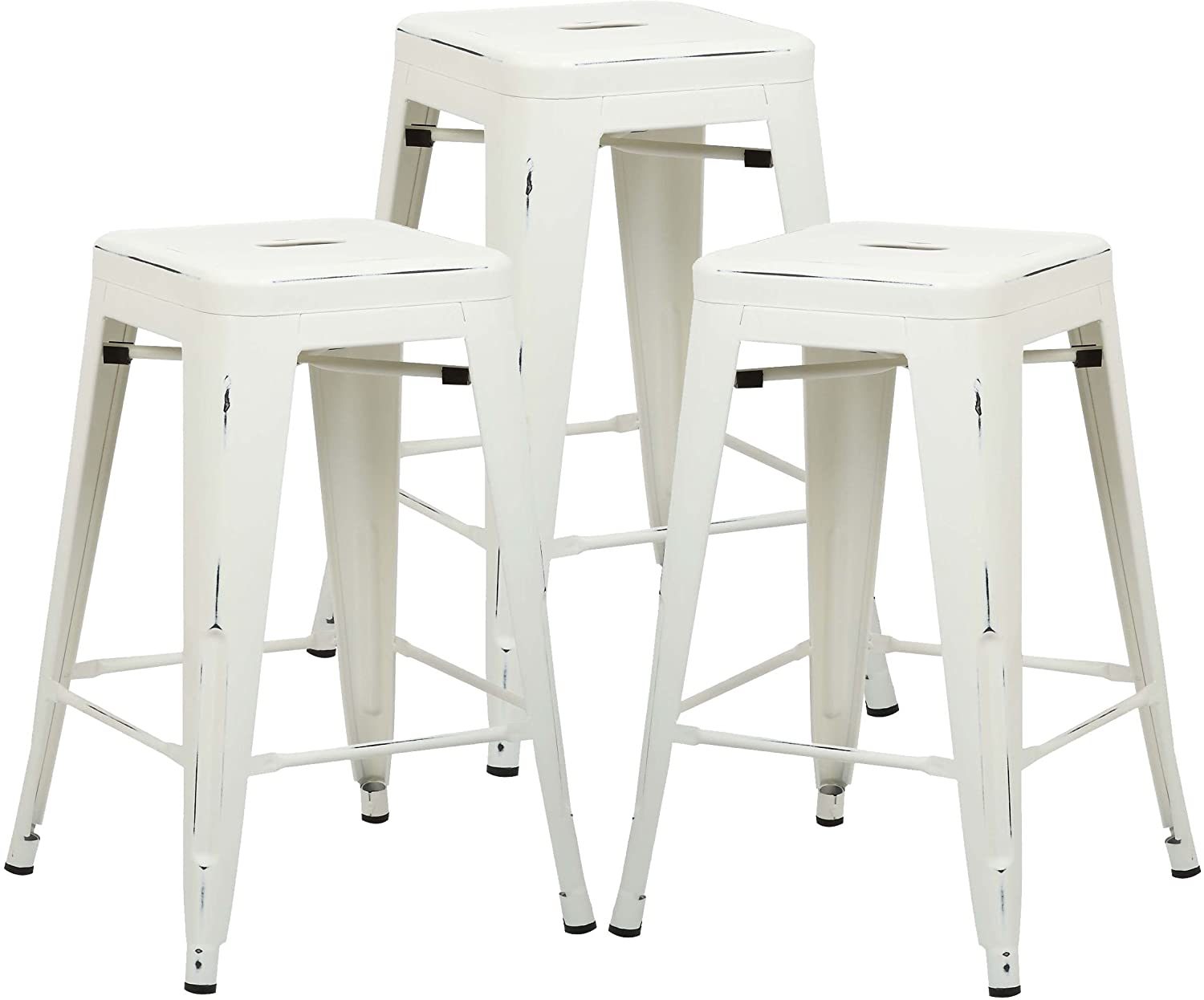 Poly and Bark Trattoria 24 Industrial Metal Counter Bar Stool, Distressed White Set of 3