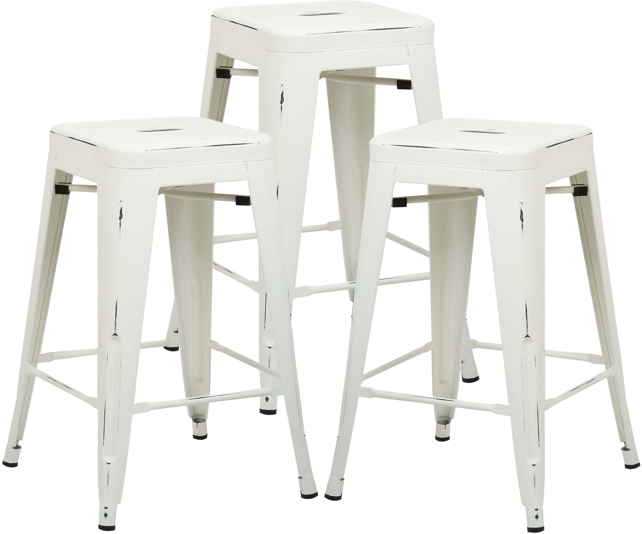Poly and Bark Trattoria 24'' Counter Height Stool in Distressed White (Set of 3)