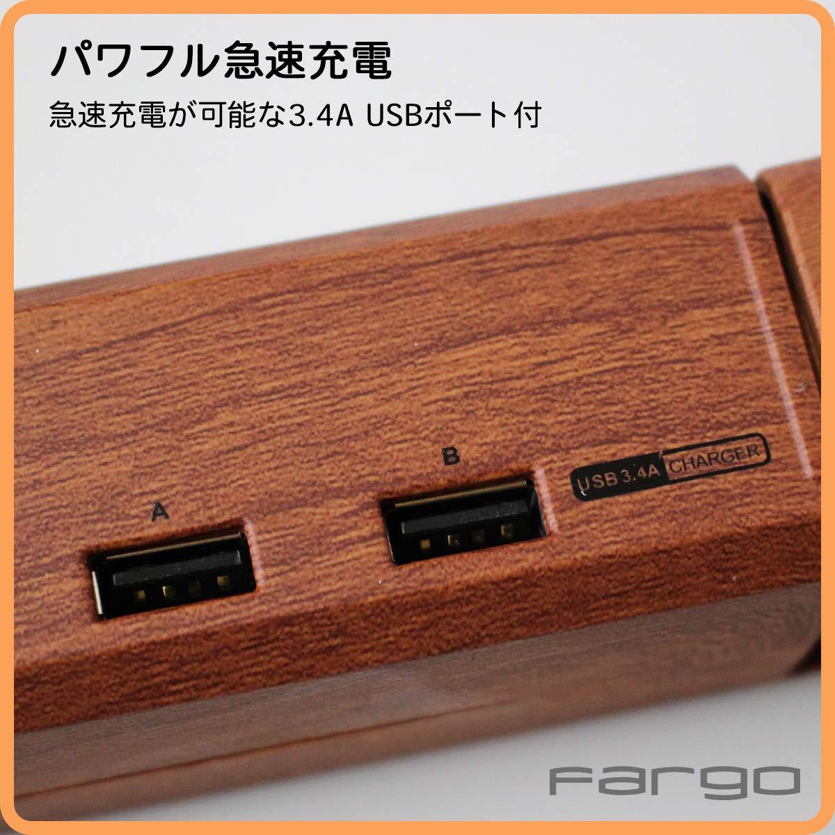 ケーブル AC6個口 Fargo 延長コード 急速充電 電源タップ エレガントなデザイン、魅惑的な木目調ダークウッド 回転 国内サポート対応 1年保証付 1.8m 3.4A USB